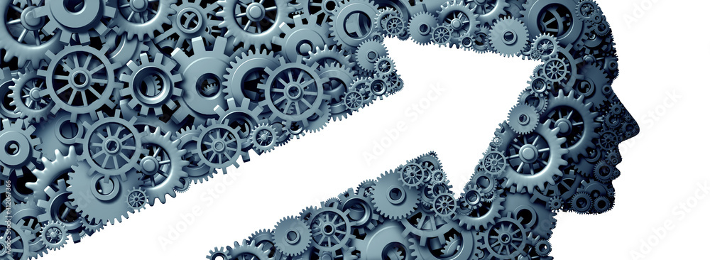 Fototapeta Success mindset growth thinking as a business development and corporate training made of gears and cog wheeels