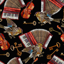 Embroidery Accordion, Violin, Golden Crossed Keys And Birds. Music Seamless Pattern. Chanson Concept. Template For Clothes, T-shirt Design