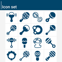 Simple Set Of Rattle Related Filled Icons.
