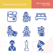 Simple Set Of Duchess Related Filled Icons.