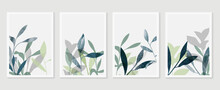 Botanical Wall Art Vector Set. Foliage Line Art Drawing With  Abstract Shape.  Abstract Plant Art Design For Print, Cover, Wallpaper, Minimal And  Natural Wall Art Background.
