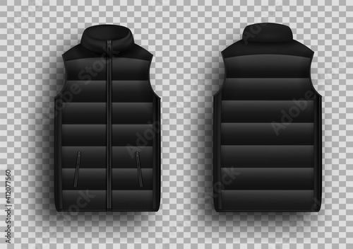 Fotografija Black winter puffer vest, sleeveless jacket mockup set, vector illustration isolated on transparent background