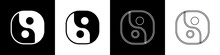 Set Yin Yang Symbol Of Harmony And Balance Icon Isolated On Black And White Background. Vector.