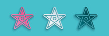 Paper Cut Pentagram Icon Isolated On Blue Background. Magic Occult Star Symbol. Paper Art Style. Vector.