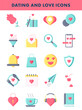 Illustration of Colorful Dating And Love Icon Set in Flat Style.