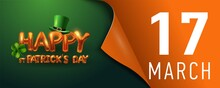 Vector Design Template For Horizontal St. Patrick's Day Poster. A Green Leprechaun Hat And Metal Letters Of Congratulations On The Banner With A Curved Edge. Vector