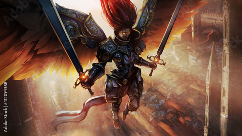 Foto Angel girl, she is a knight in beautiful chased armor with two paired swords in her hands, the dawn shines on her back, she is barefoot soaring in the air, over the city, her eyes are burning