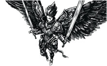 The Linart Of The Angel Girl, She Is A Knight In Beautiful Chased Armor With Two Paired Swords In Her Hands, Her Wings Are Protected By Plates , She Soars Barefoot In The Air . 2d Illustration