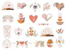 Boho Valentine Clipart Set With Hearts. Vector Illustration.
