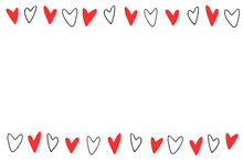 Backgrounds, Frames Of Small Outline Red Black Hearts. Hand Drawn Love Romance Theme. Horizontal Top And Bottom Edging, Border, Decoration For Birthday, Valentine's Day, Greeting Card, Wedding
