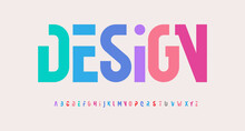 Creative Alphabet, Rainbow Colors, Modern Geometric Font. Bright Colorful Type For Futuristic Or Kid Logo, Headline, Lettering And Typography. Trendy Style Letters, Vector Typographic Design