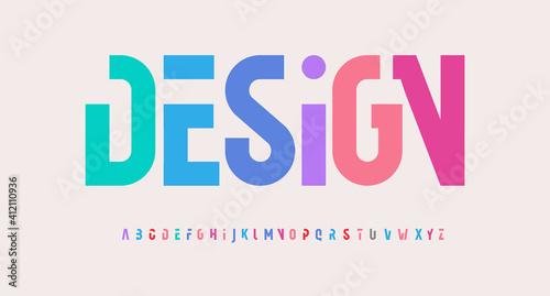 Creative alphabet, rainbow colors, modern geometric font Fototapet