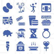 16 Pack Of Eat  Filled Web Icons Set