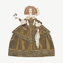 Vintage Woman Fashion Design Element Vector