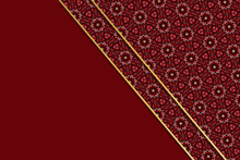 Abstract Background Illustration Of Diagonal Layers Of Overlapping Red Patterned Paper Edged With Gold Against A Plain Red Background