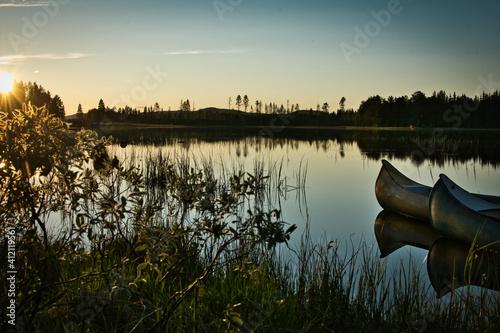 Fotografie, Obraz Scenic View Of Lake Against Sky During Sunset