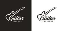 Guitar Lessons Logo. Music Shop Brand Icon. Guitarist Musician Symbol. Musical Instrument Sign. Vector Illustration.