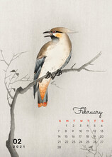 Calendar 2021 February Printable Template Vector Remix From Ohara Koson