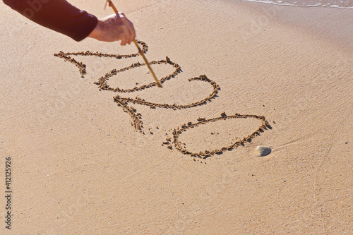 Hand Writing 2020 On Sand At Beach Fotobehang