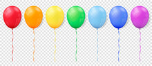 Realistic Rainbow Balloons On Transparent Background. Vector Illustration.