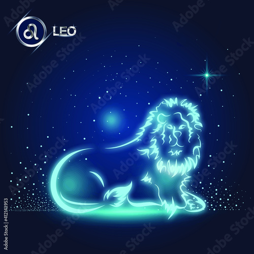 Photo vector of leo horoscope sign in twelve zodiac with galaxy stars background, vect