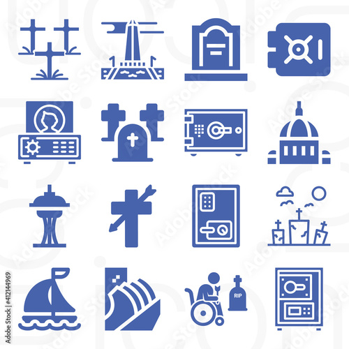 Fotografiet 16 pack of burial chamber  filled web icons set
