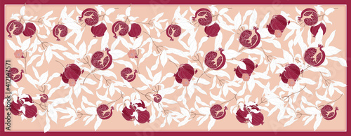 Photo Silk scarf with pomegranate branch with fruits and flowers