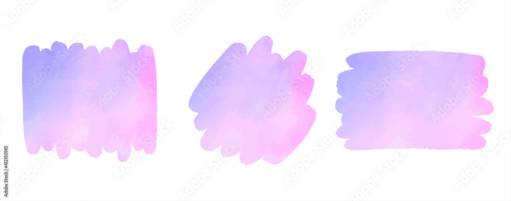 Fototapeta Watercolor vector colorful brush strokes set. Pink, lilac, light violet text frames, artistic backgrounds, banners. Rectangle, rounded smear shapes. Watercolour paint stains graphic design elements.