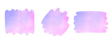Watercolor Vector Colorful Brush Strokes Set. Pink, Lilac, Light Violet Text Frames, Artistic Backgrounds, Banners. Rectangle, Rounded Smear Shapes. Watercolour Paint Stains Graphic Design Elements.