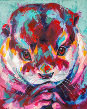 Otter Portrait Painting In Multicolored Tones. Conceptual Abstract Painting Of A Otter Muzzle. Closeup Of A Painting By Oil And Palette Knife On Canvas.