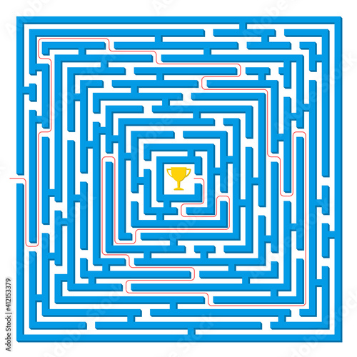 Labyrinth game. Square maze puzzle. Find the right way, path or solution. Vector illustration. Wall mural