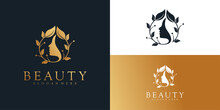 Woman Logo Design With Golden Gradient Colors Concept Premium Vector.