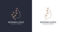 Woman Face Combine With Leaf Logo Design Golden Gradient Colors Concept Premium Vector
