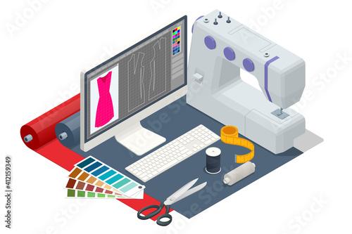 Obraz na plátne Isometric sewing workshop collection