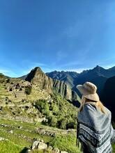 Rear View Of Woman Looking At Machu Picchu
