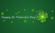 Linear Typography Lettering Design St Patricks Day With Clover, Vector Art Illustration.