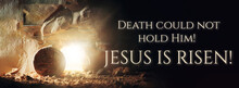 Christian Easter Concept. Jesus Christ Resurrection. Empty Tomb Of Jesus With Light. Born To Die, Born To Rise. He Is Not Here He Is Risen . Savior, Messiah, Redeemer, Gospel. Alive. Miracle