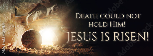 Fototapeta Christian Easter concept. Jesus Christ resurrection. Empty tomb of Jesus with light. Born to Die, Born to Rise. He is not here he is risen . Savior, Messiah, Redeemer, Gospel. Alive. Miracle obraz