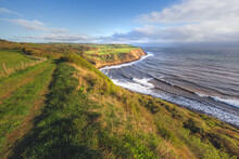 North Yorkshire Coastline Landscape And Seascape With Dramatic Cliffs Along Cleveland Way From Burniston To Hayburn Wyke In North York Moors National Park, England.