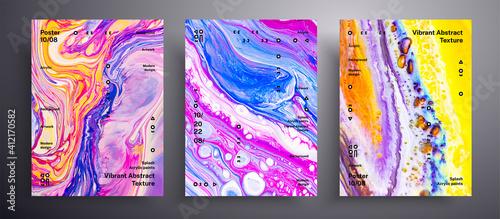 Tablou Canvas Abstract acrylic placard, fluid art vector texture set