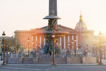 France, Paris, View Of Place De La Concorde And National Assembly At Sunset