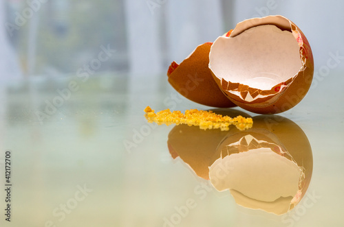 Fotografie, Obraz Close-up Of A Broken Egg Shell On A Glass Surface