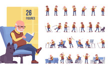 Old Man Character Set, Pose Sequences. Senior Citizen, Retired Grandfather Wearing Glasses, Old Age Pensioner, Lonely Grandpa. Full Length, Different Views, Gestures, Emotions, Positions
