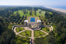 France, Calvados Department, Colleville Sur Mer, Aerial View Of American War Cemetery At Omaha Beach, Normandy