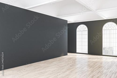Fototapeta Empty black wall in classical gallery interior obraz