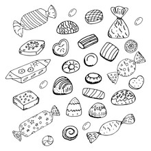 A Set Of Chocolates In A Wrapper And Without A Wrapper On A White Background. Doodle Style. Vector Illustration. Hand Drawing.