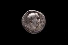 Roman Coin, AR Denarius,Vitellius, Rome Mint, 69 AD., Ancient Roman Coin With Portrait Of Emperor Isolated On Black