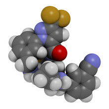 Berotralstat Hereditary Angioedema Drug Molecule. 3D Rendering. Atoms Are Represented As Spheres With Conventional Color Coding: Hydrogen (white), Carbon (grey), Nitrogen (blue), Oxygen (red),  Etc