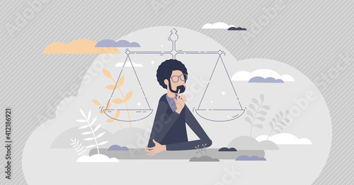 Legal decisions thinking as right law judgment choice tiny person concept Fototapeta