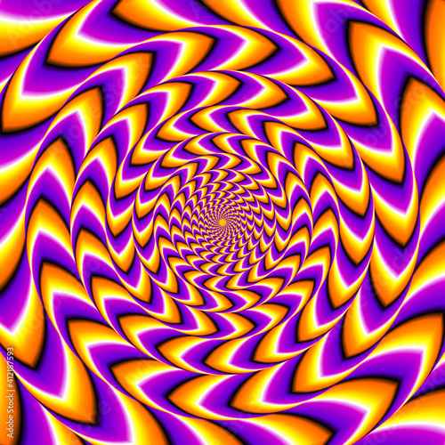 Billede på lærred Orange and purple spin illusion.